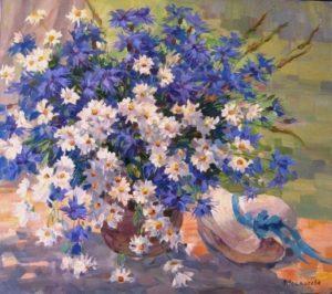 Ческидова О. А. Букет с васильками 2010 г. х. м. 80х90