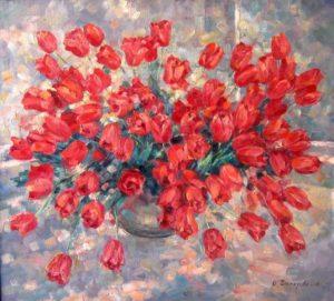 Ческидова О. А. Тюльпаны на веранде 2001 г. х. м. 80х90